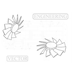 Machine-building drawings on a white fan vector