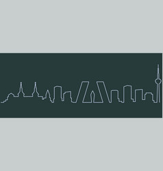 Madrid single line skyline vector