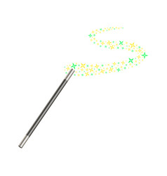 Magic wand with stream of golden and green stars vector