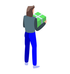 man green parcel icon isometric style vector image