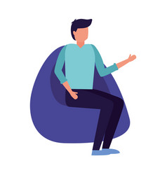 Man sitting on beanbag chair vector