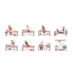 Massage therapists at work flat vector