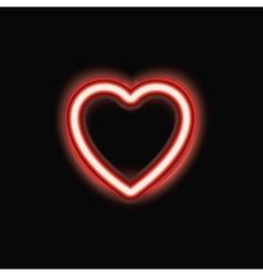 Neon heart silhouette icon vector image