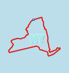 New york us state bold outline map vector