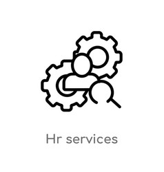 Outline hr services icon isolated black simple vector