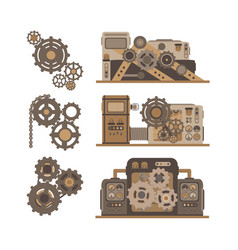 party of machines gears in the flat style vector image