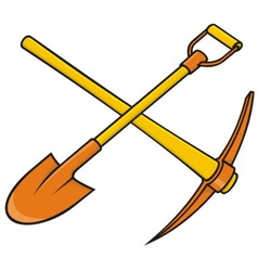 pickaxe and shovel vector image