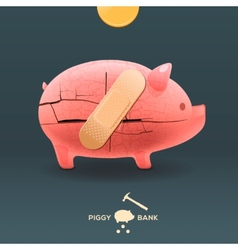 Piggy breaking moneybox with coin and stuck a vector