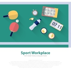 Pingpong green workspace flat icons Ping pong vector image
