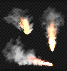 Realistic smoke clouds and fire flame blast vector