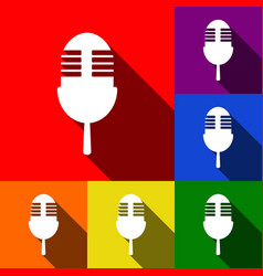 retro microphone sign set of icons with vector image