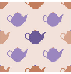 seamless pattern with tea pots vector image
