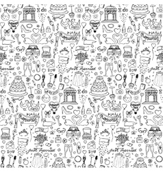 seamless wedding hand drawn doodle pattern vector image