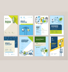 set brochure and annual report design templates vector image