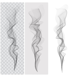 Set of realistic black smoke vector image