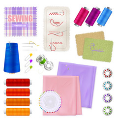 Sewing accessories realistic set vector