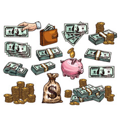 sketch icons of money dollars and coins vector image