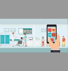 Smartphone innovative medical app with hospital vector