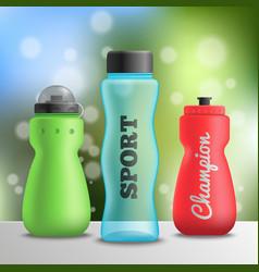 sport athlete bottles composition vector image
