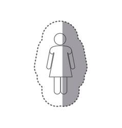 sticker monochrome silhouette of pictogram woman vector image vector image