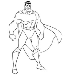 superhero standing tall line art vector image