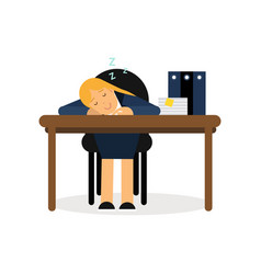 tired businesswoman sleeping on the office desk vector image