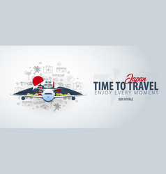 travel to japan time to travel banner with vector image