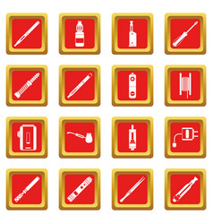 Vaping icons set red vector