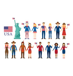 various americans people statue liberty vector image