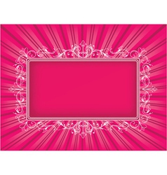Vintage floral frame with rays background vector