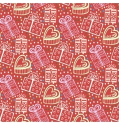 Vintage New year gift paper Wrapping seamless vector image