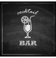 Vintage with cocktail on blackboard background bar vector