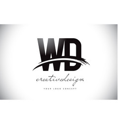 Wd w d letter logo design with swoosh and black vector