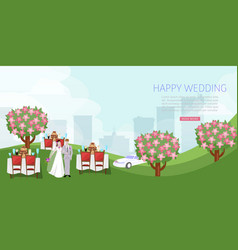 wedding celebration with couple newly weds vector image