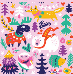 winter seamless pattern with cartoon animals in vector image