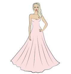 Woman in evening dress vector image