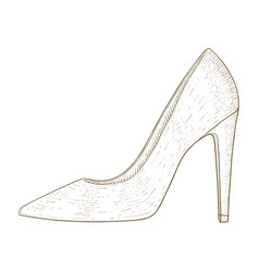 Woman shoes high heel hand drawn sketch vector