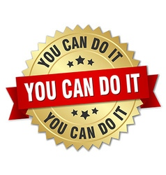 You can do it 3d gold badge with red ribbon vector