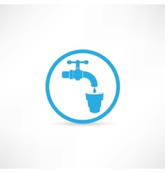 Blue tap water tap icon vector image