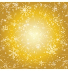 Christmas background with snowflakes on golden vector image