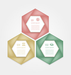 cyclic diagram with three steps and icons vector image