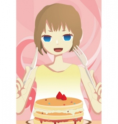 eat cake vector image vector image