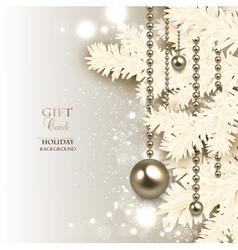Elegant Christmas background with golden garland vector image