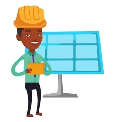 Engineer working on digital tablet vector image