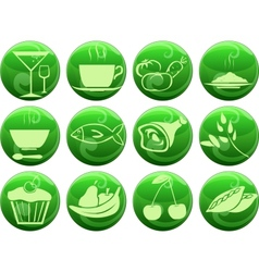food icons on buttons vector image vector image