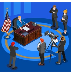President Desk Isometric People vector image vector image