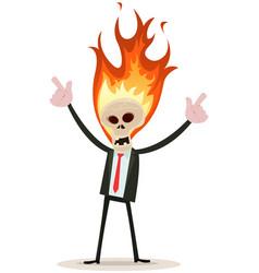 skeleton head devil businessman vector image