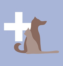 Veterinary cross cat and dog logo vector image