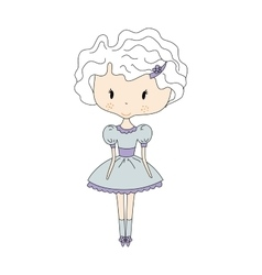 a Cute Little Doll Girl with vector image
