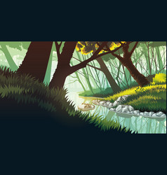 background of landscape with lake in the forest vector image vector image